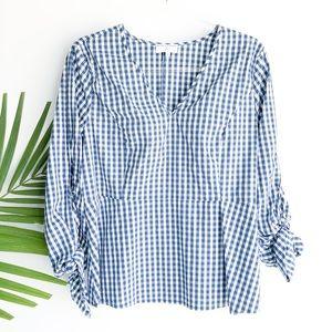UNIVERSAL STANDARD x j crew gingham blouse top